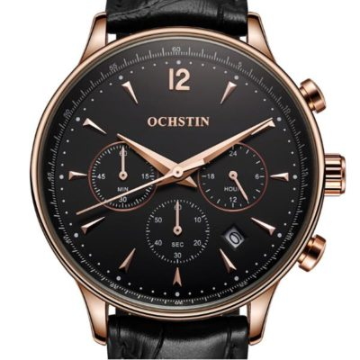 black and rose gold mens watch 1